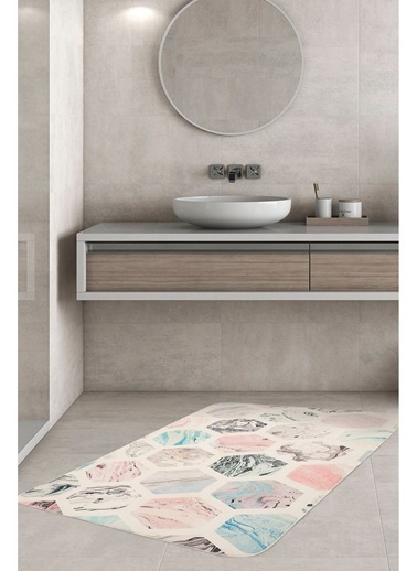 Hamur Hexagon 75x125 cm Banyo Paspası Kaymaz Taban Banyo Halısı Renkli